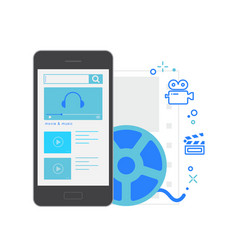 mobile application interface movie and music vector image