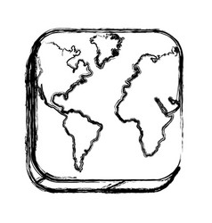 Monochrome sketch of square button with map vector
