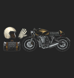 motorcycle or bike retro motor bicycle leather vector image