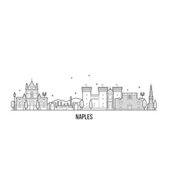 naples skyline italy city buildings linear vector image