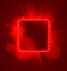 Neon frame light color red vector