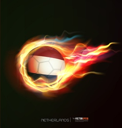 Netherlands flag with flying soccer ball on fire vector
