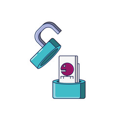 padlock with bug virus infection vector image