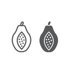 papaya line and glyph icon fruit and vitamin vector image