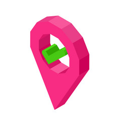 pink geolocation symbol with check mark inside vector image