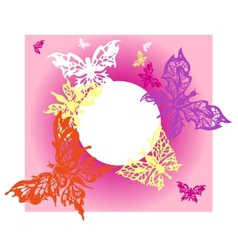 postcard with flying butterflies on pink vector image