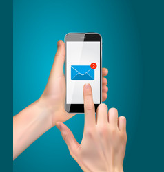 Realistic hand holding mobile phone with email vector