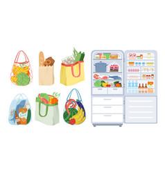 refrigerator with open door bags full food vector image