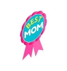 Ribbon rosette with the text Best Mom icon vector