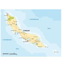 Road map caribbean abc island curacao vector