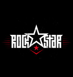 Rock star - music poster with original lettering vector