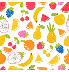 seamless pattern with cute fruit summer tropical vector image