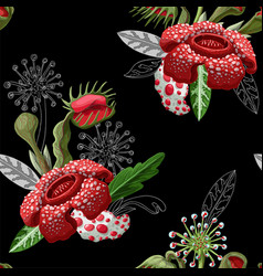 Seamless pattern with plant predators vector