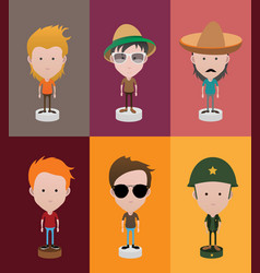 set of diverse avatars with different hairs vector image