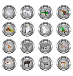 set of metal buttons for web round with images o vector image