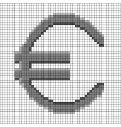 Sign pixel euro grey in grid 508 vector