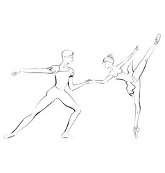 Silhouette of duet young dancers vector