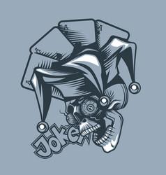 skull joker on background playing cards vector image