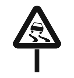 Slippery when wet road sign icon simple style vector
