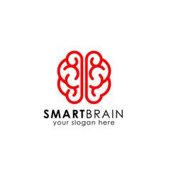smart brain logo design template in line-art style vector image
