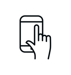 Smartphone hand clicking shopping line style vector