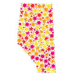 Star collage map of alberta province vector