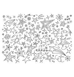 stars hand drawn doodle star icon children vector image