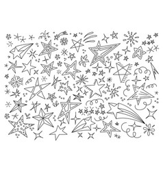 stars hand drawn doodle star icon childrens vector image