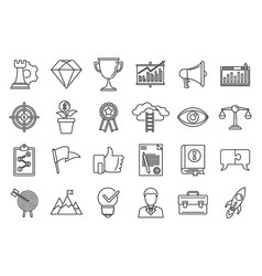 Success mission icons set outline style vector