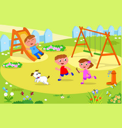 Three kids playing at the playground vector