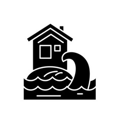 tsunami black icon sign on isolated vector image