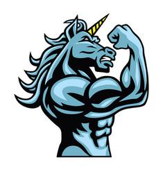 Unicorn horse fighter logo character design vector