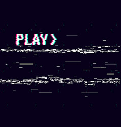 Vhs glitch play effect background retro playback vector