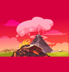 Volcanic explosion flat composition vector