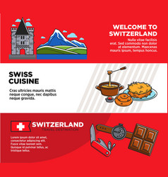 welcome to switzerland promotional travel company vector image