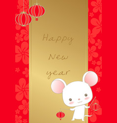 white rat hold red lanterns on red flowers card vector image