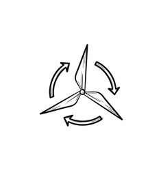 Wind generator hand drawn sketch icon vector