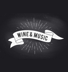Wine music vintage ribbon banner vector