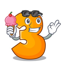 With ice cream cartoon number three on the wall vector