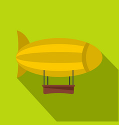 yellow airship icon flat style vector image