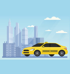 yellow modern taxi car on the urban city vector image