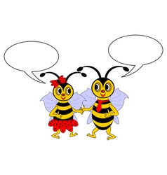 A couple of cartoon bees with chatting bubbles vector image