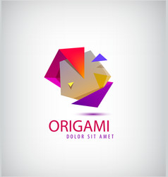 abstract colorful 3d origami logo vector image