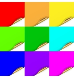 Multicolored Set of Curled Paper Sheets vector image