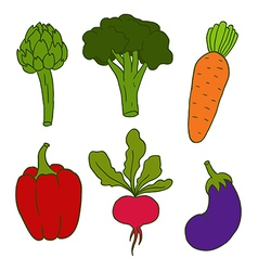 Set of cute hand drawn vegetables vector image vector image