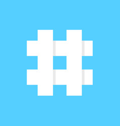 white hashtag icon on blue background vector image vector image