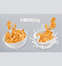 corn flakes and milk splashes 3d realistic icon vector image vector image