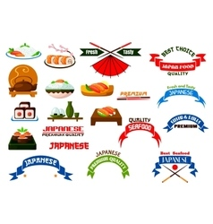 Japanese cuisine sushi icons set vector image vector image