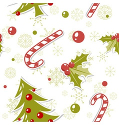 Seamless pattern with cute cartoon Christmas tree vector image vector image