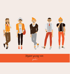 set with hipster young man in different poses vector image vector image